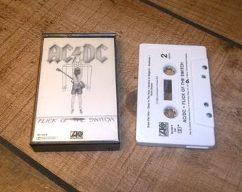 ACDC Flick of the Switch Cassette Tape 1983 Classic Heavy Metal Angus Young, Rising Power, Nervous Shakedown for your Sony Walkman Player