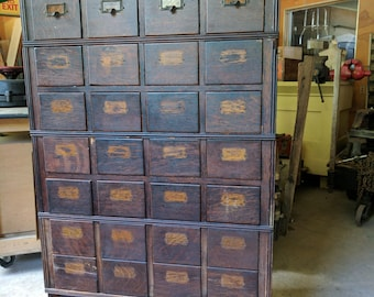 Antique Library Card Catalog 8 Drawer Stackable Units