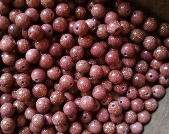 65 6mm Gold Sandstone Beads, Goldstone Beads, Beads.
