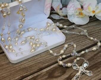 FAST SHIPPING!! Beautiful Silver Wedding Lasso with Pearls and Swarovski, Pearl Wedding Lazo, Lazo para Boda de Perlas,  Wedding Lasso