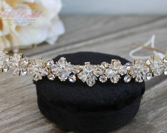 FAST SHIPPING! Swarovski Gold Tiara, Quinceañera Tiara, Swarovski Headband, Gold Headband, Wedding Headpiece, Bridal Tiara, Crystal Headband