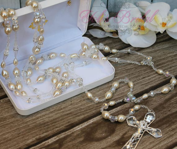 FAST SHIPPING!! Beautiful Silver Wedding Lasso with Pearls and Swarovski, Pearl Wedding Lazo, Lazo para Boda de Perlas,  Wedding Lasso