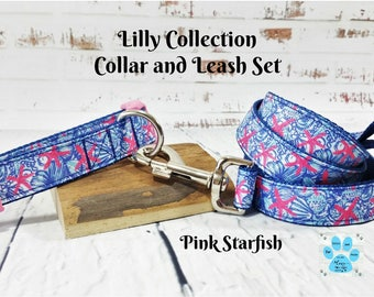 Pink Starfish Dog Collar and Leash Set, Lilly Pulitzer Inspired Collar & Leash Set, She She Shell, Preppy Dog Collar, Girl Dog Collar