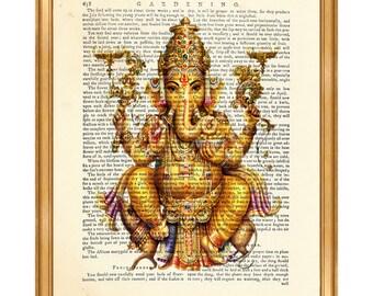 Ganesha Wall Art, Ganesha Wall Hanging, Ganesh Print, Ganesha Portrait DICTIONARY ART PRINT, Vintage Page, Gift For