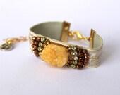 White Cuff Bracelet Druzy Bracelets Orange Agate Cuff Bracelet Hippie Style Jewelry Stone Bracelet Statement Rhinestone Friendship Bracelet