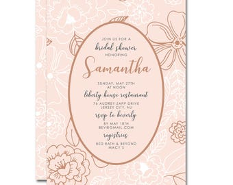 Bridal Shower 5x7 Invitation with hand-drawn flowers - Framed Posies - Blush Pink and Rose Gold - Printable and Personalized