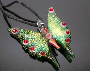Golden Dichroic Butterfly Pendant