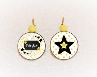 cabochon bronze Stud Earrings Fairy tale star yellow/black