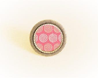 Adjustable silver ring and pendant Pink rosettes