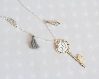 Necklace long silver cabochon key 50 shades of Grey cuffs/tie/Pompom