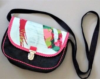 shoulder bag denim/green Mint/pink floral fuschia pockets style shoulder bag