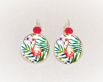 Earrings sleepers silver cabochon pink Flamingo and tropical flowers