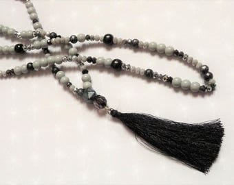 Necklace long wooden beads and black/silver/grey Bohemian crystal, black tassel