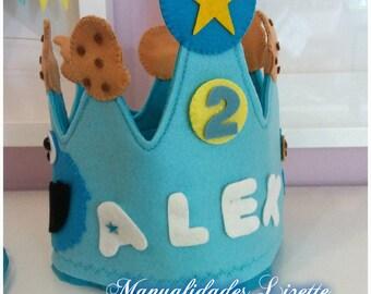 Cookie Monster-gift-kids-girls-Children's party-custom crown-Cookie Monster-Triki-crown Triki-Sesame Street-Birthday