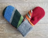 Best Wool Sweater Mittens // Womens Sweater Mittens // Fleece Lined mittens // Blue Orange Gray and Red