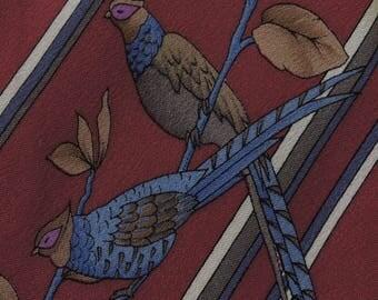 Leonard Tie Paris Pure Silk Floral Stripe Pattern Red Vintage Designer Dress Necktie Made In Italy