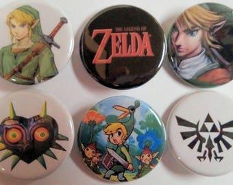 Legend of Zelda Badge Button Pin Set of 6
