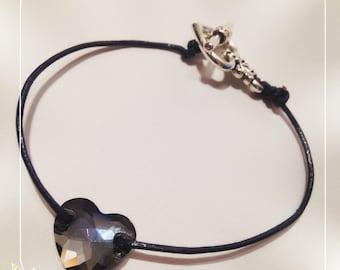 Heart bracelet Swarovski Crystal on leather cord