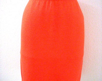 Vintage 90s Tangerine Orange Knit Skirt by St. John Marie Gray - Preppy Knit Skirt - Orange St. John Skirt - Size Small