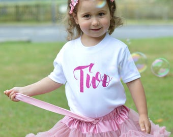 Gold Glitter Second Birthday Outfit Girl | 2nd Birthday Shirt | Toddler Girls Clothes | Toddler Birthday Outfit | Script Two TShirt