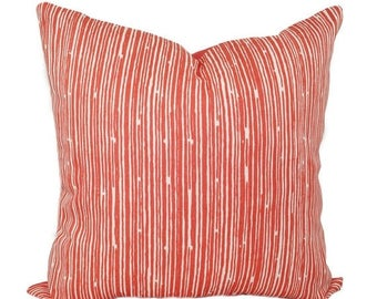 SALE Coral Throw Pillow, Pillows, Coral Stripe Decorative Throw Pillow, Couch Pillow, Hidden Zipper Pillow, Accent Pillow, Coral Pillow Sham