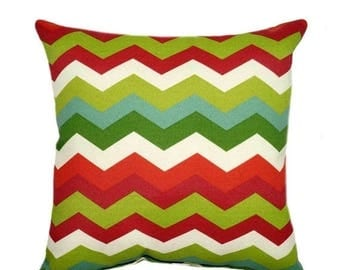 SALE Red and Green Outdoor Pillow Cover - Red and Green Pillow - Panama Wave Jewel Chevron Patio Pillow - Red Deck Pillow - Christmas Pillow