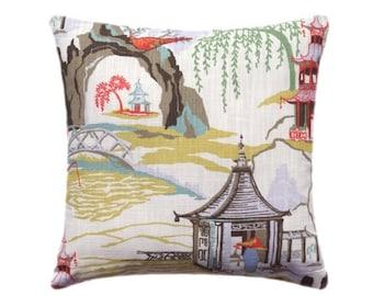 Chinoiserie Pillow, Pillow Case, Neo Toile Coral Pillow Cover, Robert Allen Lumbar Pillow, Accent Pillows, Throw Pillows, Toss Pillows