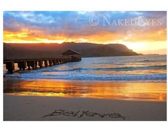 Beach sunset Hawaii. Hanalei Bay Kauai beach photo. Beach wall art. Sunset canvas print. Beach home decor. Hawaiian sunset. Golden sunset.
