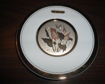 Vintage, 24K Gold, Decorative Plate, Japanese, Chokin Plate, Gift for Her, Asian Decor, French Country, Cottage Chic, Lilly's, Butterflies