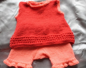 knit set girdle dress, salmon, brick, doll, doll, baby corole, hand knitted