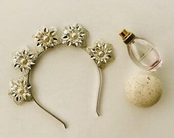 Silver Flower Headband   Silver Applique    Races Fascinator   Silver Headband   Spring Races Fascinator