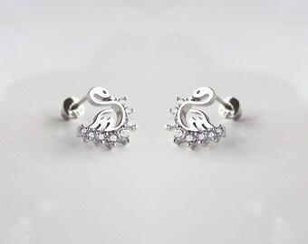 925 Sterling Silver Swan Cubic Zirconia Screwback Baby Girls Earrings