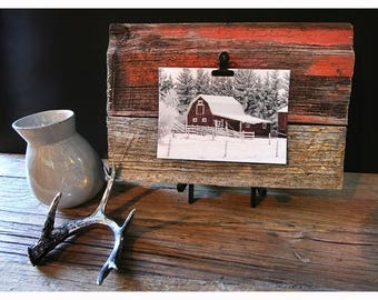 Barn Wood Photo Display - Photo Clip, Photo Holder, Photo Frame, Reclaimed, Salvaged, Barn Wood Art, Rustic, Home Décor, Wall Decor