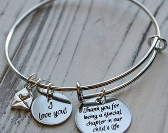Thank You Teacher Personalized Wire Adjustable Bangle Bracelet