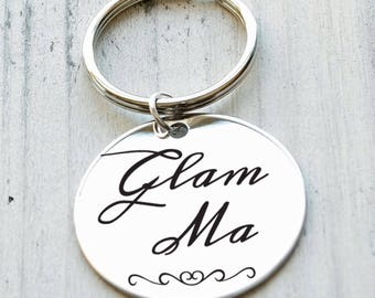 Glam Ma Personalized Key Chain - Engraved