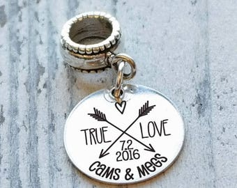 True Love Arrows Personalized Engraved Charm Bead