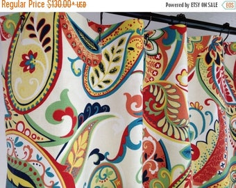SALE Custom Fabric Shower curtain Whimsy Paisley Multi navy yellow red  ivory 72  x 84108 shower curtain   Etsy. Navy And Yellow Shower Curtain. Home Design Ideas