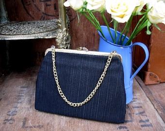 Black Evening Bag, 1960s Bag, Satin Purse, Vintage Purse, Grosgrain Evening Bag, Evening Purse, Black Purse, 1960s Purse, Chain Handle