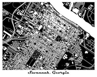 Savannah Map Art Print, Georgia, SCAD, Savannah River
