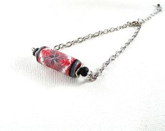 Red, black, grey and white kaleidoscope polymer Bead Bracelet