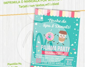 Spa & Donuts Printable Invitation. Kawaii. With editable texts. INSTANT DOWNLOAD! Pajamas party. Sleep over. Baby shower.