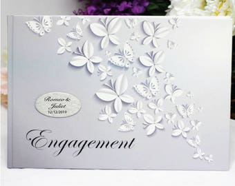 Engagement Guest Book- White Butterfly