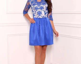 Blue Top Lace Mini Women's Dress V Neckline 3/4 Sleeves