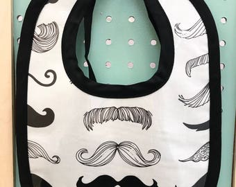 Classic Stache Clean Up Bib with Black Binding