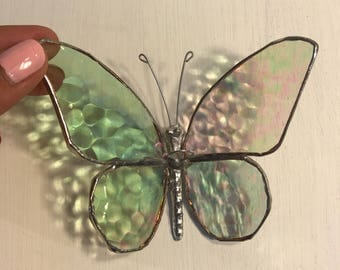Stained Glass Butterfly Clear Suncatcher- Glass Art - Glass Ornament