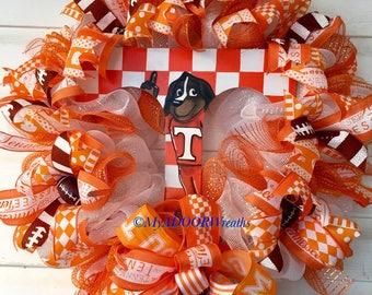 UT Vols Wreath, TN Football Smokey Wreath, Tennessee Volunteers Deco Mesh Wreath, UT Sports Wreath, University Tennessee Wreath, Sports Fan