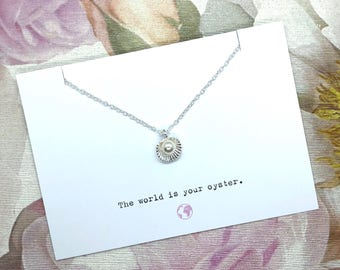 The World Is Your Oyster - Necklace Card Gift - Personalised - Travel Theme - Gift For Her - Message Card Jewellery