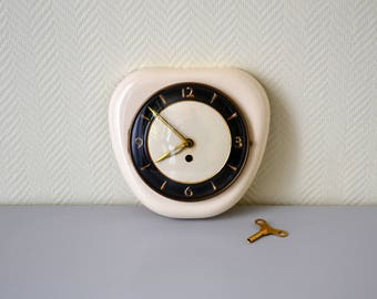 Vintage ceramic wall clock / mechanical key clock / perfect working condition