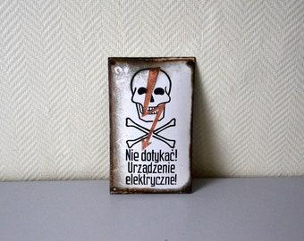Vintage Factory enamel sign of Danger of death / enameled plate skull / Factory Electricity / 50s