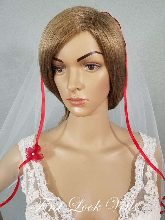 White Wedding Veil, Red Bridal Veil, Red Ribbon Edge Vail, Waist Veil, Bridal Attire, Bridal Accessory, Bridal Accessories, Plain Veil